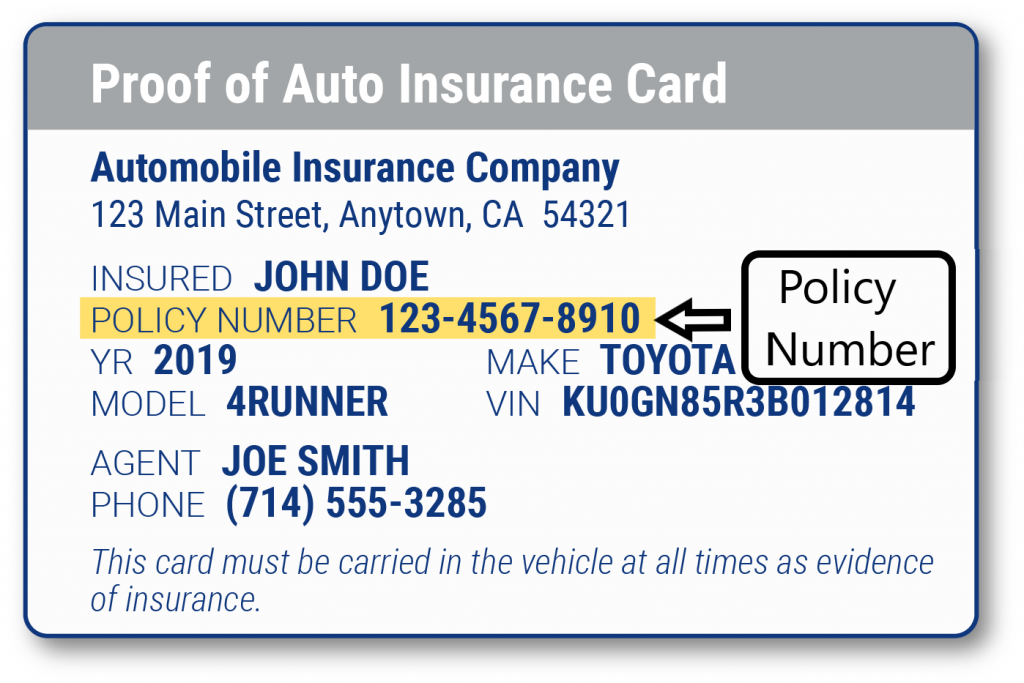 Insurance Policy Number